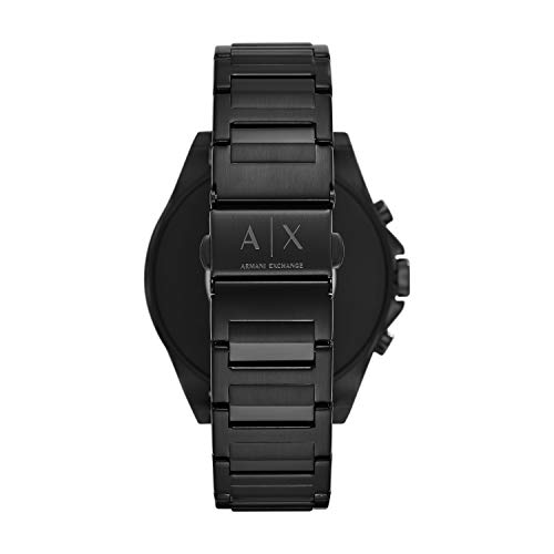 Armani Exchange Men's Smartwatch Touchscreen Watch Armani Exchange Men's Smartwatch Touchscreen Watch with Stainless-Steel-Plated Strap, Black, 22 (Model: AXT2002)