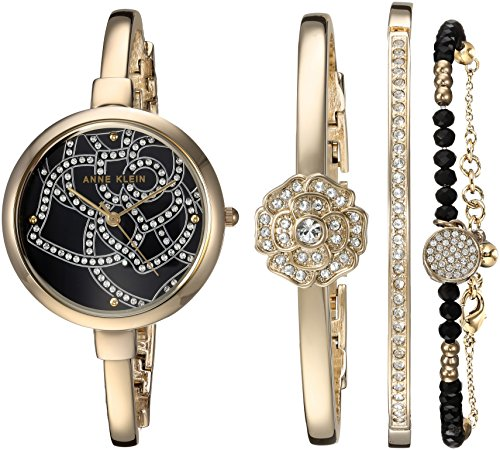 Anne Klein Women's Swarovski Crystal Accented Gold-Tone Bangle Watch