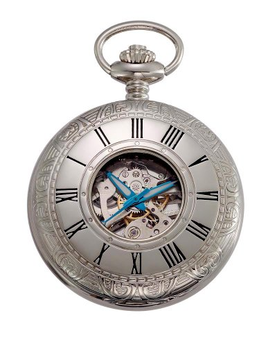 Gotham Men's Silver-Tone Jewel Mechanical Covered Pocket Watch