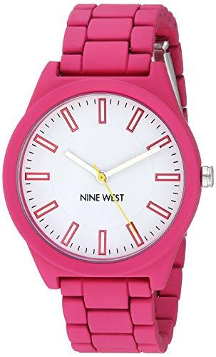 Nine West Women's Matte Hot Pink Rubberized Bracelet Watch