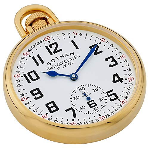 Gotham Men's Mechanical Hand Pocket Watch  Gold-plated hardened steel 49 mm case with scratch safe mineral crystal    White railroad style dial structure with military time Precision 17 gem little seconds hand mechanical hand wind movement 30M Water resistant Includes fancy control chain, lifetime guarantee and blessing box   New from Gotham! Great railroad style 49 millimeter gold-plated tempered steel open face stash watch. Highlights incorporate rich railroad style dial with 24 hour time and moment track, 17 gem little seconds hand mechanical hand wind development, marginally domed scratch safe mineral glass precious stone and 30M water safe. Additionally included is a fancy 14 inch check chain with spring ring end piece. This excellent yet strong pocket watch touches base with working guidance, ,lifetime guarantee and blessing boxed. Gotham Men's Gold-Plated Stainless Steel Mechanical Hand Wind Railroad Style Pocket Watch # GWC14108G