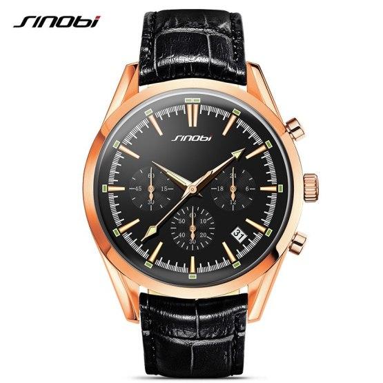 2017 SINOBI Military Spy Men Wrist Watches Chronograph leather watchband