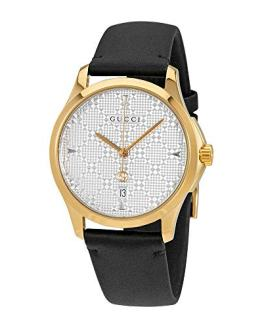 Gucci G-Timeless SIlver Dial Mens Leather Watch