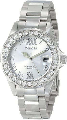 Invicta Women's Pro Diver Silver Dial Crystal Accented Stainless Steel Watch