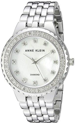 Anne Klein Women's Diamond-Accented Silver-Tone Bracelet Watch