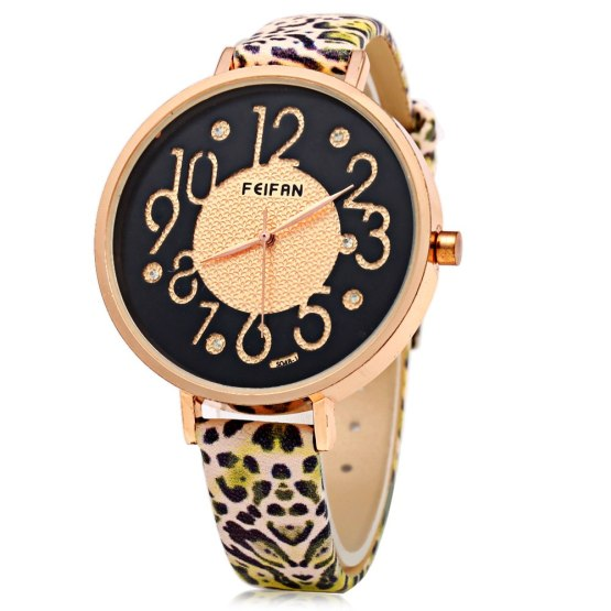 Women Watches PU Leater Quartz Woman Wrist Watch Simple Clock