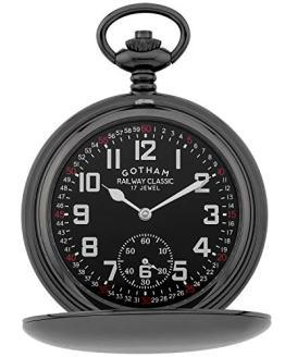 Gotham Men's Gun-Tone Railroad Mechanical Pocket Watch