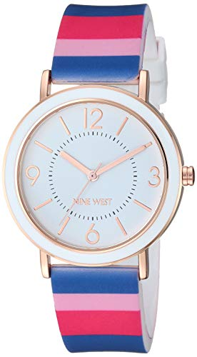 Nine West Women's Multicolor Striped Silicone Strap Watch