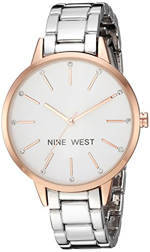 Nine West Women's Crystal Accented Rose Gold-Tone Watch