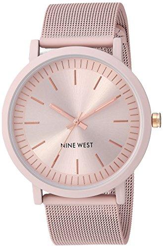 Nine West Women's Pink Rubberized Mesh Bracelet Watch