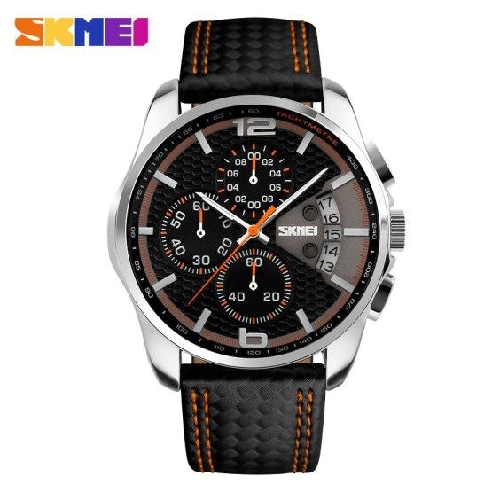 SKMEI Men Chronograph Watch Men Sport Watch Leather