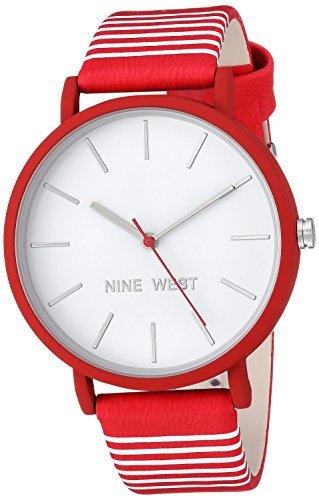 Nine West Women's Quartz Metal and Polyurethane Dress Watch, Color:Red