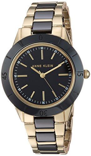 Anne Klein Women's Gold-Tone and Black Ceramic Bracelet Watch