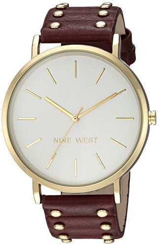 Nine West Women's Gold-Tone and Burgundy Strap Watch