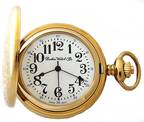 Dueber Watch Co Gold Plated Locomotive Railroad Pocket Watch