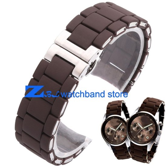 Rubber watchband Steel in Brown silica gel for man 23mm woman 20mm