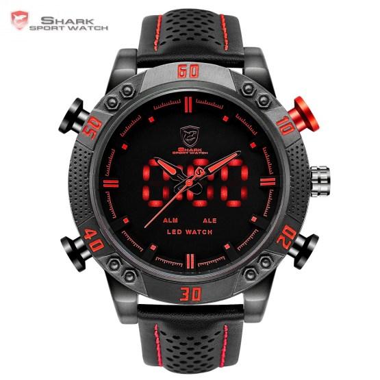 Kitefin Shark Sport Watch Brand Mens Military Quartz Red LED Hour