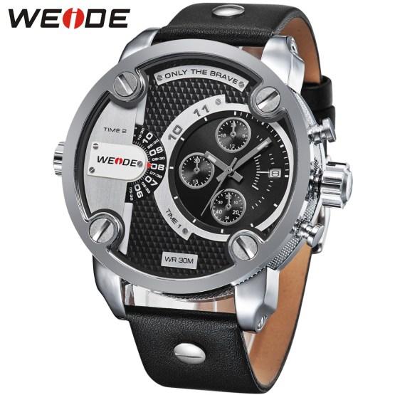 Weide sport men watch leather quartz luxury brand watch