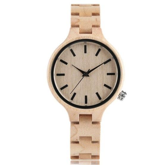 Full Wooden Watch Simple Creative Women Quartz Bracelet Dress Wrist Watch