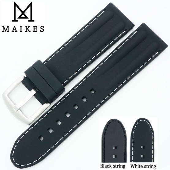 MAIKES 22mm Watchband Silicone Rubber Bands