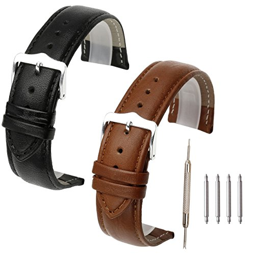 Top Plaza 2 Pcs Black Brown Genuine Leather Band Replacement