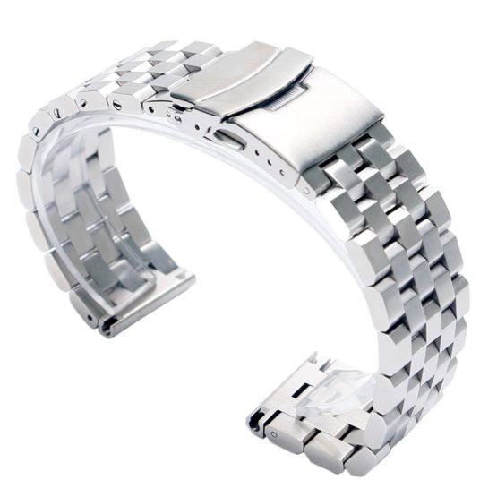 High Quality 20mm 22mm Black/Silver Solid Stainless Steel Watch Strap Band