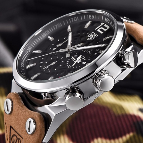 Benyar Men Watch Top Brand Luxury Male Leather Waterproof Sport