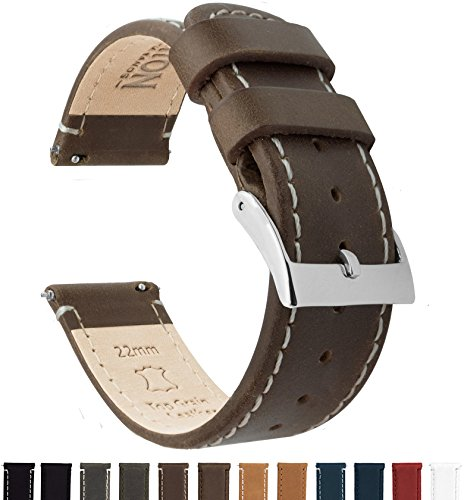 Barton Quick Release Top Grain Leather Watch Band Strap - Choose Color