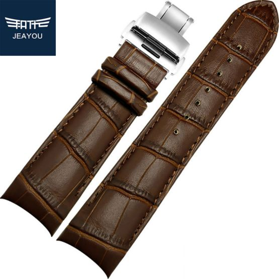 JEAYOU New Watch Strap Brown Watchbands Genuine Leather Band Watch