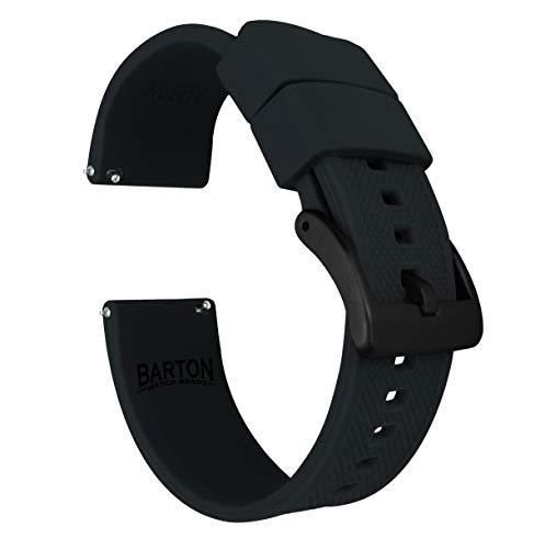 Barton Elite Silicone Watch Bands - Black Buckle Quick Release