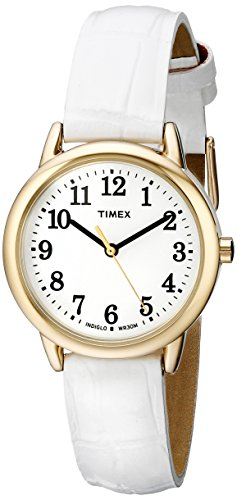 Timex Womens Easy Reader White Leather Strap Dial Gold-Tone Case Watch
