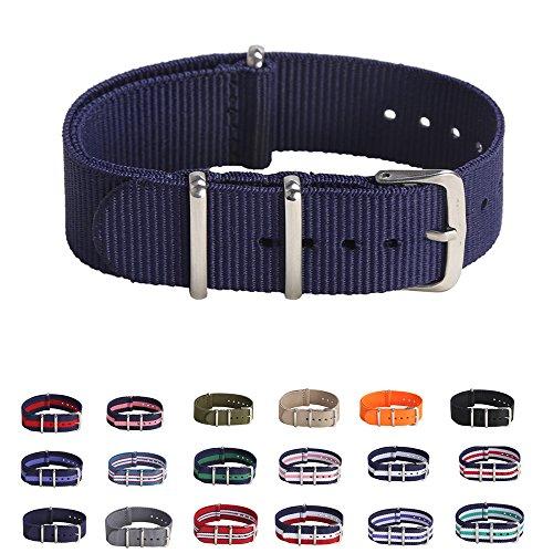 Premium Canvas Fabric Watch Bands Ballistic Nylon Straps Width,Navy Blue