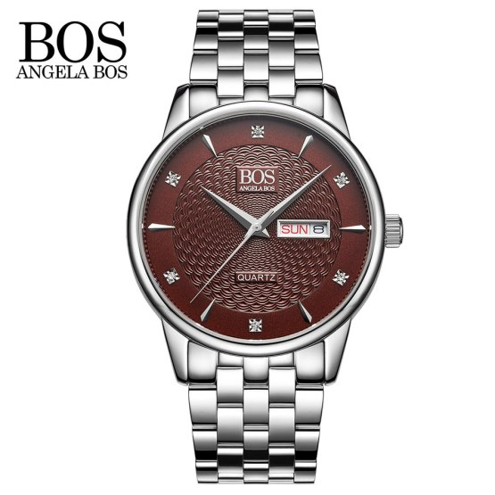 ANGELA BOS Cool Mens Watches Top Brand Luxury Quartz Watch Stainless Steel