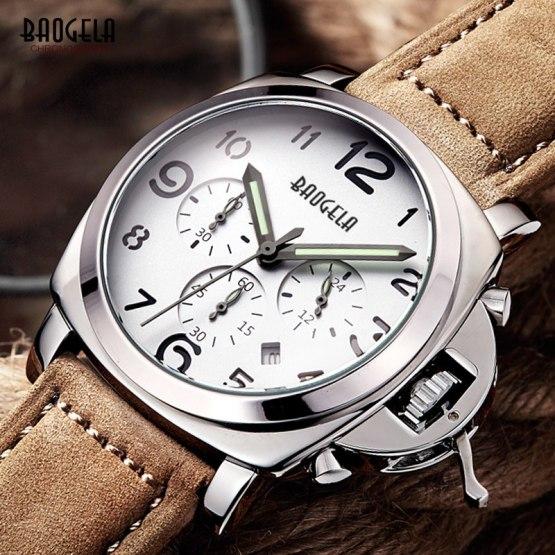 Baogela Mens Chronograph Luminuos Hands Leather Strap Quartz Wrist Watches