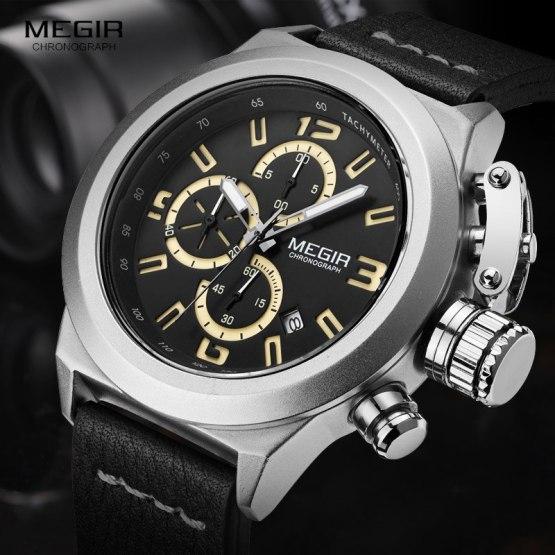 Megir Mens Fashion Chronograph Luminous Hands Calendar Date