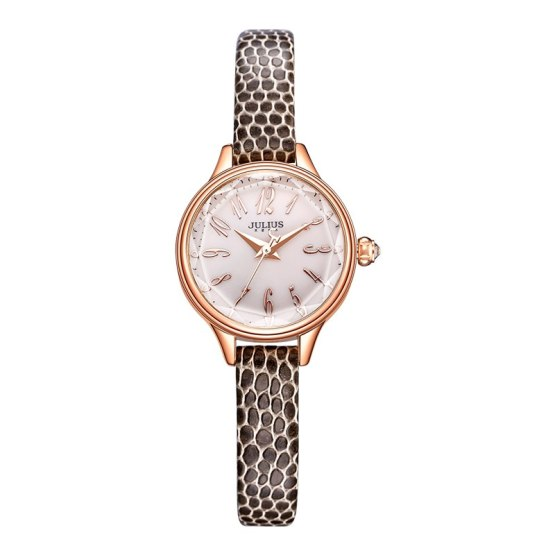 JULIUS 2018 Winter New Crocodile Genuine Leather Strap Rose Gold Watches