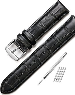 iStrap 20mm Genuine Calf Leather Watch Band Alligator Grain Padded