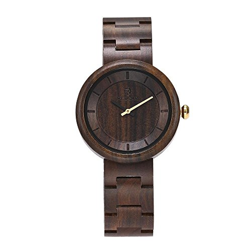 Luxury Natural Handmade Women's Ebony Sandalwood Wrist Watches