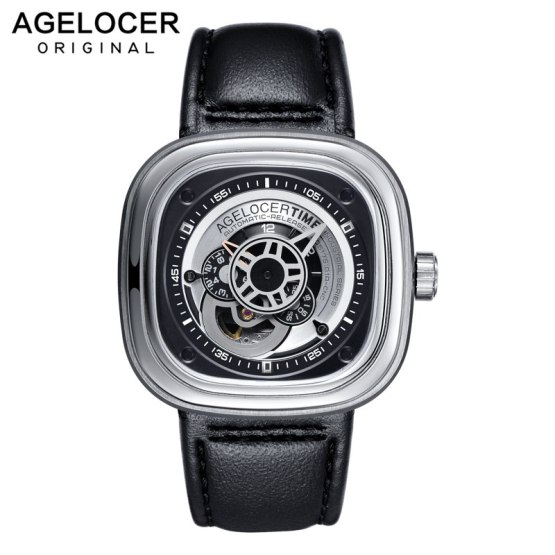 Agelocer Brand Relogio Masculino Automatic Watch 100% Cowhide Watchband