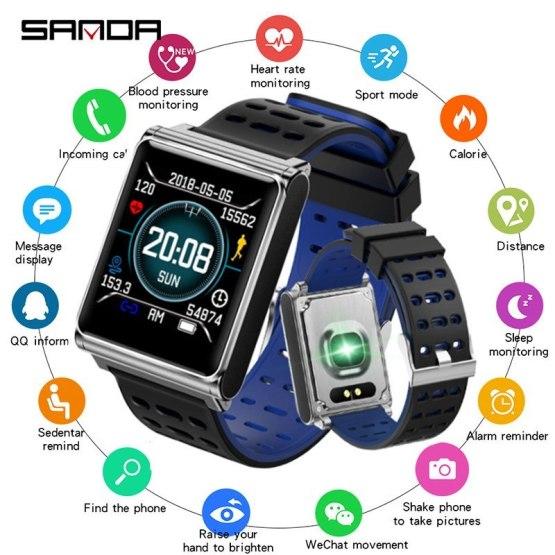 New Smart Watch Men SANDA Sport Watch Men Bluetooth Heart Rate Monitor