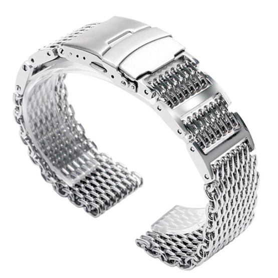 20mm 22mm 24mm Luxury Silver Stainless Steel Shark Mesh Watch Band