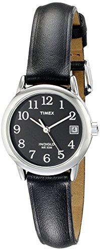 Timex Women's Indiglo Leather Strap Watch, Black/Silver-Tone/Black
