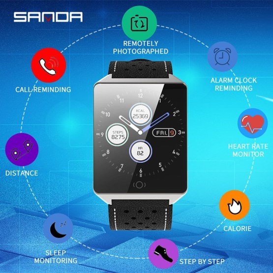 SANDA Fashion Casual Smartwatch Bluetooth for IOS Android