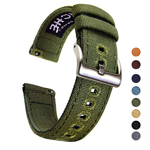 22mm Canvas Quick Release Watch Band Army Green Replacement