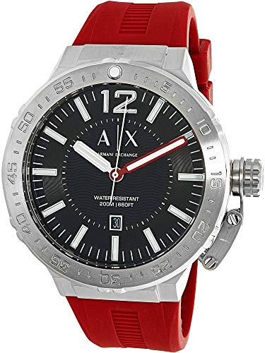 Armani Exchange Men's AX1811 Stainless Steel Red Silicone Watch
