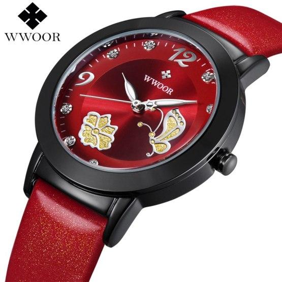 Women Watches Brand WWOOR Flower Butterfly Red Genuine Leather