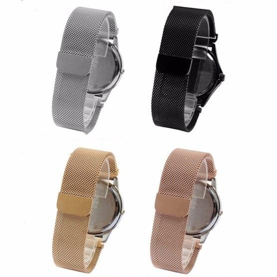 Men Lady Silver Black Gold Rose Gold Steel Bracelet Wrist Watch Band Strap