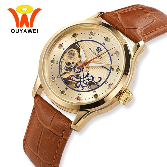 Luxury Gold Skeleton Automatic Wrist Watch Women OUYAWEI Fashion