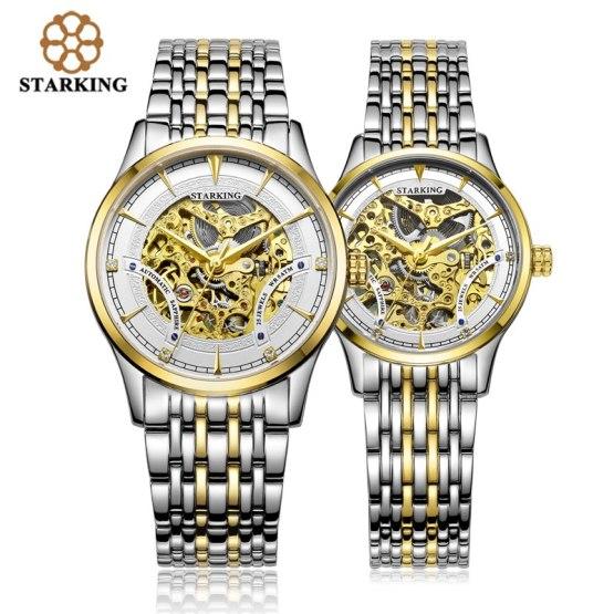 StarKing Luxury Golden Skeleton Automatic Watches Unisex Women