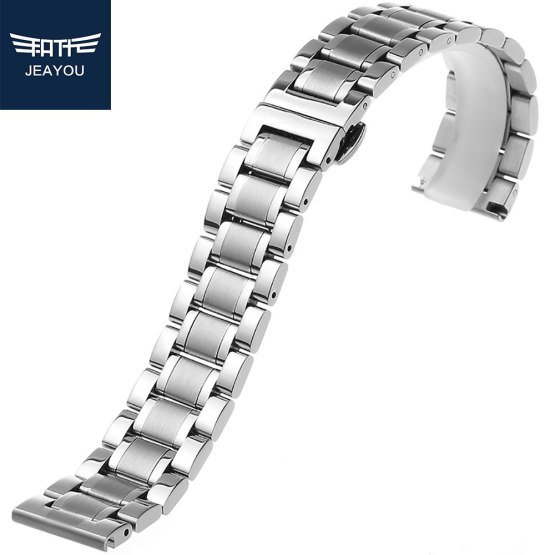 JEAYOU Men Stainless Steel Watch band Silver Watch Strap Bracelet Watchband
